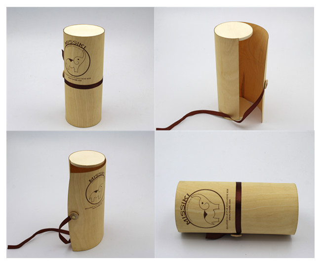 Natural Birch Veneer Soft Bark SIngle Round Wooden Storage Box