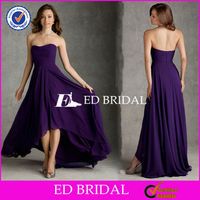 Wholesale B1050 Strapless Ruched Short Front Long Back Purple Bridesmaid Dresses