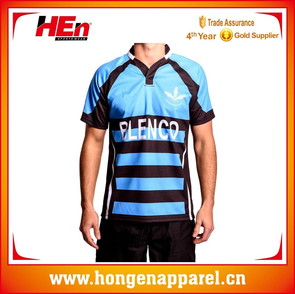 Hongen apparel Custom sublimation profit rugby jerseys/New Zealand tight fit rugby jersey