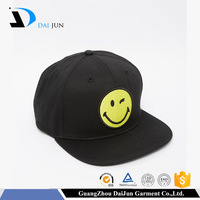 Guangzhou daijun oem factory 100% acrylic 2d embroidery tatami plastic buckle black colour flat brim custom men snapback caps