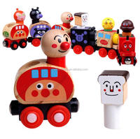 Wooden cartoon shapes magnetic train colorful educational toys
