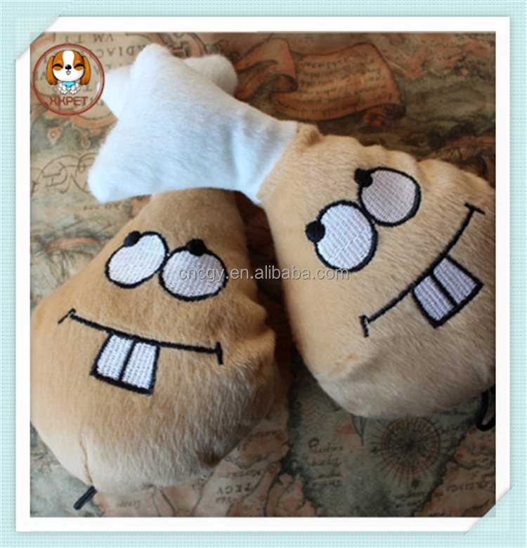 2015 Hot selling plush toy dogs/Chicken leg dog toys