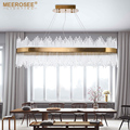 MEEROSEE Modern LED Pendant Light Crystal rods Hanging Lamp for Dinning room Gold Oval Suspension Luminaire Abajur MD85504