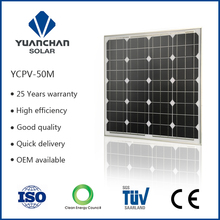 Enconomical high efficiency monocrystal 50 watts good photovoltaic solar panels