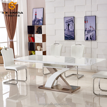 modern fashion white high gloss cross leg extension wooden dining table