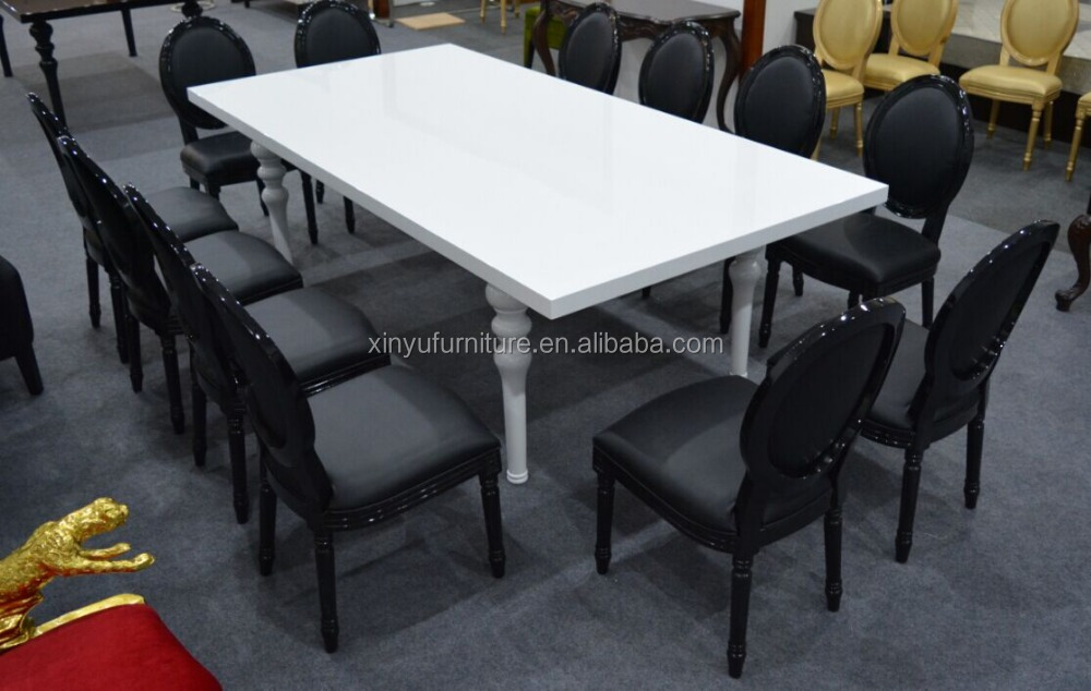 Pure black wedding louis chair and knock down table design XYN2688