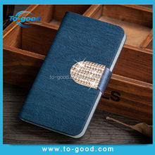 leather clip crystal mobile phone wallet waterproof cover smart cover case for htc one m7,for htc one m7 case(navy blue)