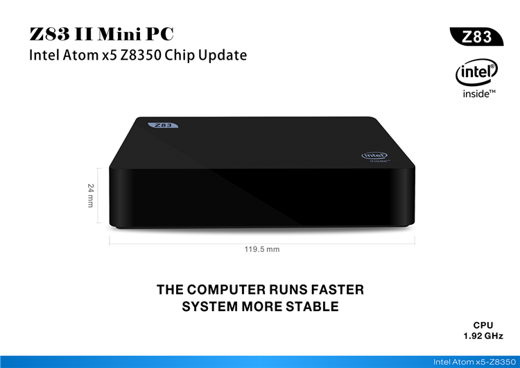2019 Factory Z83II Mini PC Intel Z8350 2GB 32GB and 4GB+64GB Intel HD Graphics 400 Mini Desktop PC Wins 10 Set Top Box