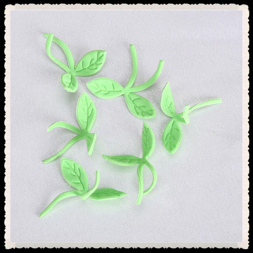 embossed little green fabric flower for decoration wall