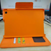 credit card slot leather stand case for iPad Mini