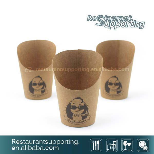 Custom Made Disposable Brown Paper Cup For French Fries Cups Hot Chip Containers