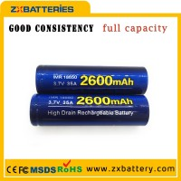Full stock 18650 zxbattery 3500mah 18650 3500mah 20a imr battery