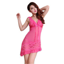 New Classical black and rose red free size for Europe and America women sexy night sleeping dress