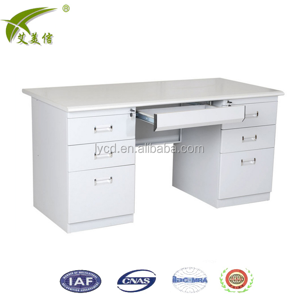 2017 New Design stainless steel office desk Executive Office furniture with drawer on 2 sides computer table
