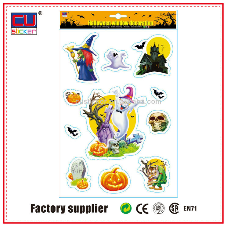 Wholesale Halloween Static 3d Wall Sticker Clock For Window