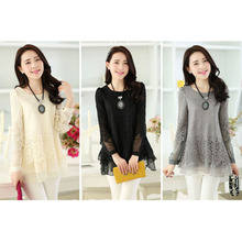 Round Neck Loose Long Sleeves Girl Chiffon <strong>Lace</strong> Mesh <strong>Blouses</strong>&amp; Shirt