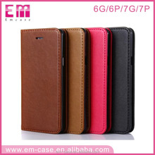 Quality smart phone wallet style leather case, flip stander pu leather cover for iphone6 6+ 7 7+