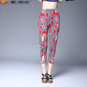 China Cheap Newest Design Colors Sublimation Flower Pattern Printed Pants For Women