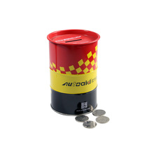 Custom oil drum shape metal tin coin bank money saving box as promotion gifts