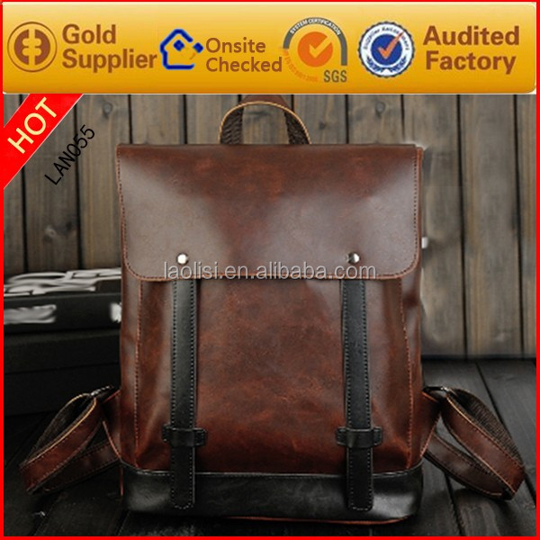 2016 hot shot fashion 100% SGS guarantee men genuine leather backpack