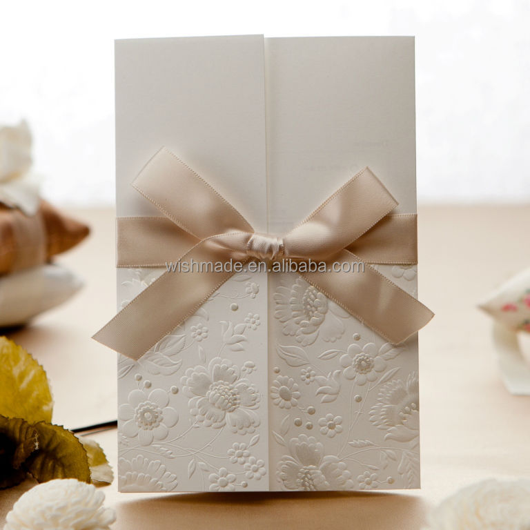 W1113 Wishmade Lace Elegant Embossed Wedding/birthday Invitation card and buckles festival card