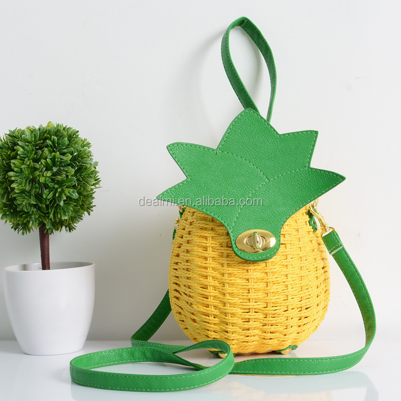 DEMI Wholesale fashion pineapple shaped bag pineapple straw bag