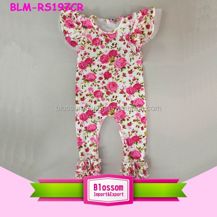 Wholesale Girl Boutique Baby Clothes Triple Icing Romper Jumpsuit Toddler Baby Icing Ruffle Romper