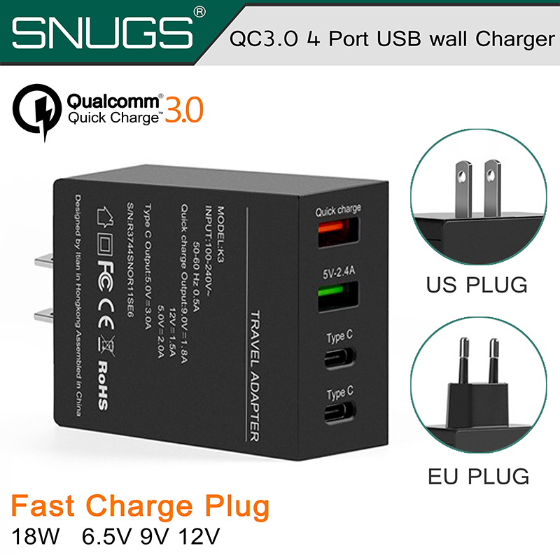 CE ROHS FCC approved QC3.0 4 Port USB wall Charger with Dual Quick Charger 3.0 Port QC3.0 Charging Adaptor for Samsung