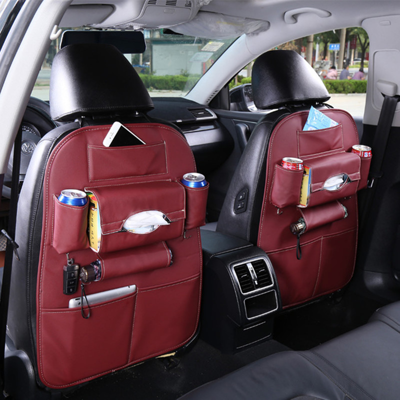 Wholesale Leather universal car seat back cover trunk organizer