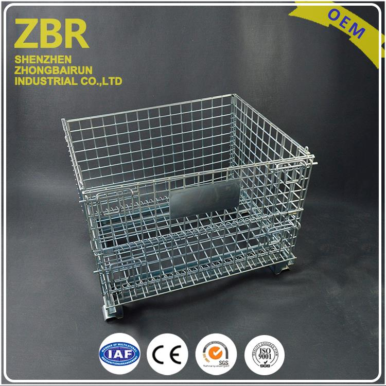 Collapsible Metal Wire Bin Foldable Mesh Steel Pallet Crate with Plate Cover