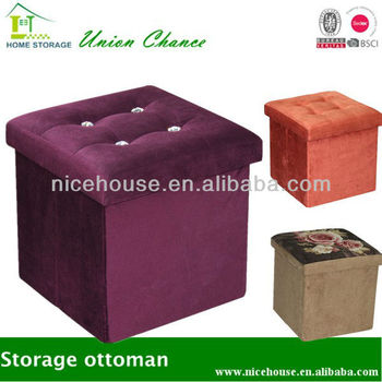 fabric covered foldable storage ottoman box classical
