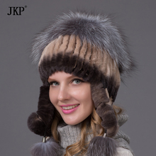Women winter rex rabbit fur hat ear protector caps knitted hat fur headgear THY-01