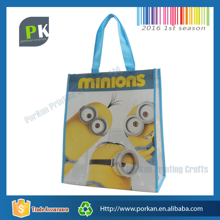 High Quality Cute Yellow Minions Non Woven Tote Bag