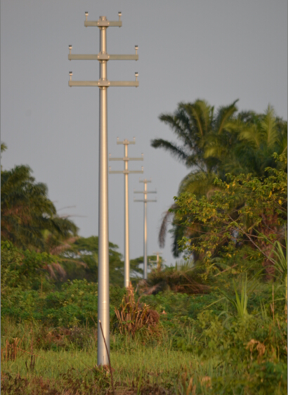 FRP power pole with crossarm