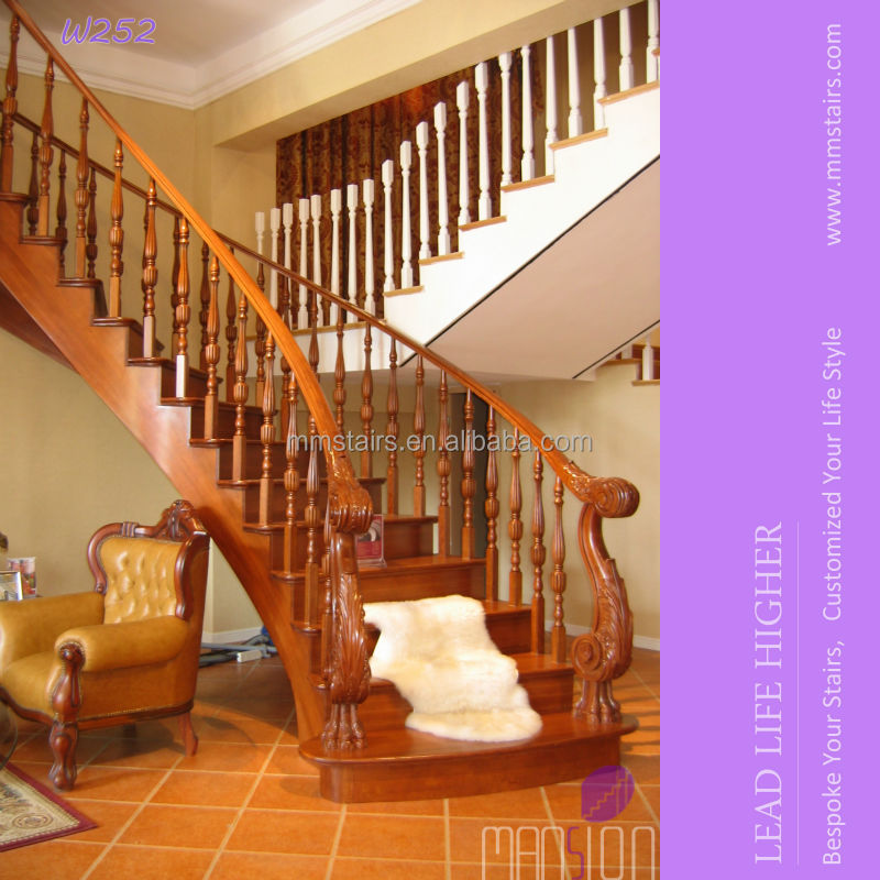 Luxury Carved Wood Indoor Staircase Design