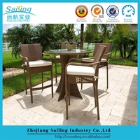 Lowest Price 5 Pcs Glass Top Table And Rattan Chairs Garden Dining Set