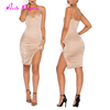 Fast Shipping nude harness v neck silk discount women's summer dresses for party