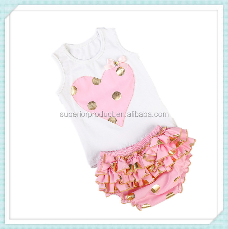 Child clothes children clothing plain vest and shorts or bloomer outfit wholesale kids clothes vest + Shorts new girls sets
