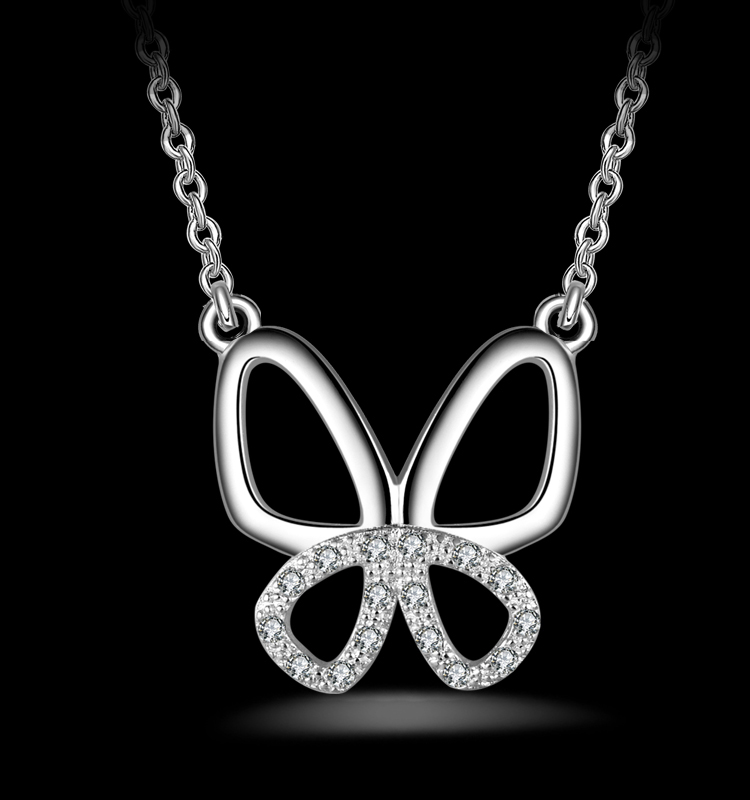 Fashion Butterfly Pave Cubic Zirconia Diamond Clover Pendant