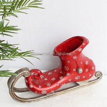 Christmas large red ski boots polyresin personalized christmas ornament