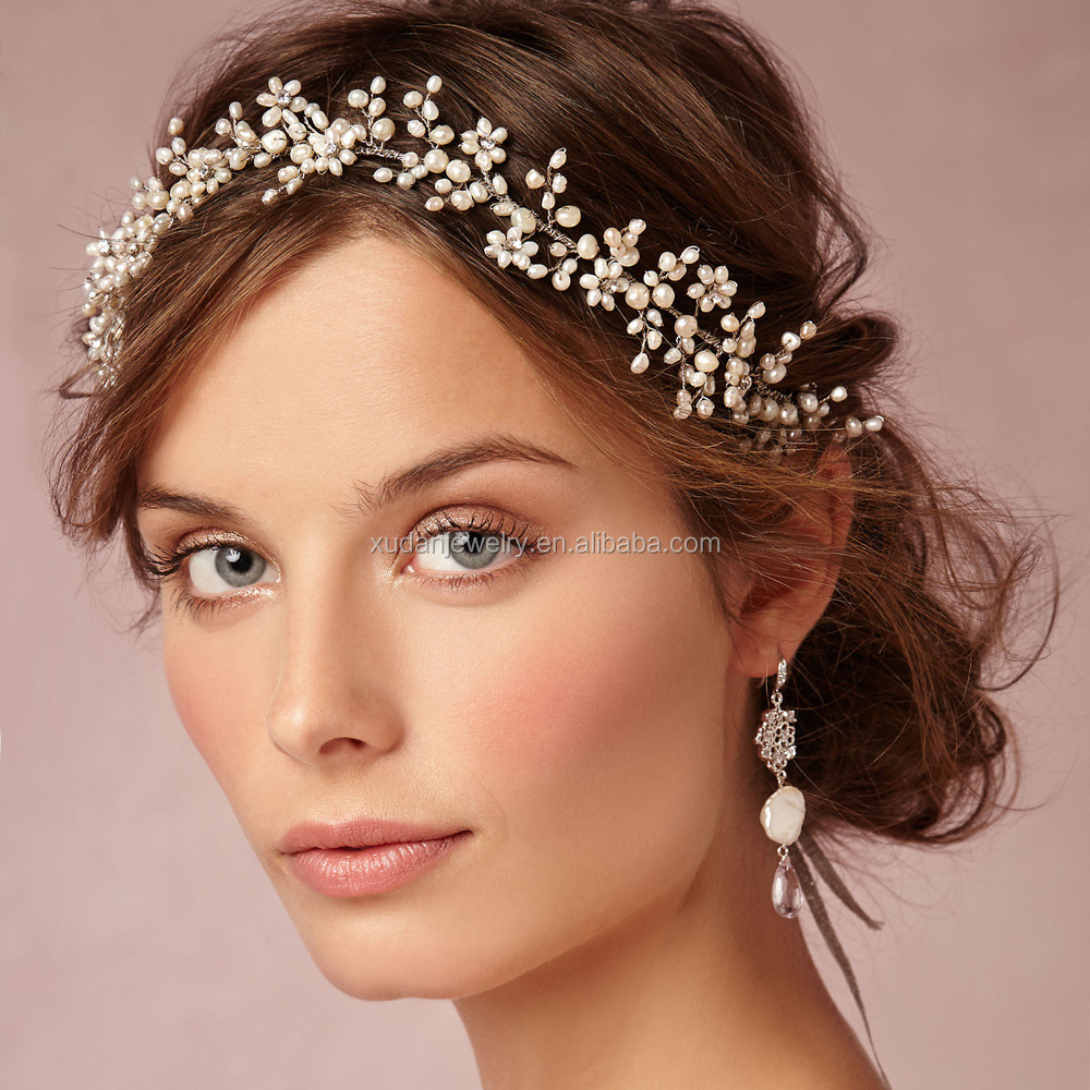 Custom Wedding Bridal Crystal Pearl Flower Wedding Headband Girls