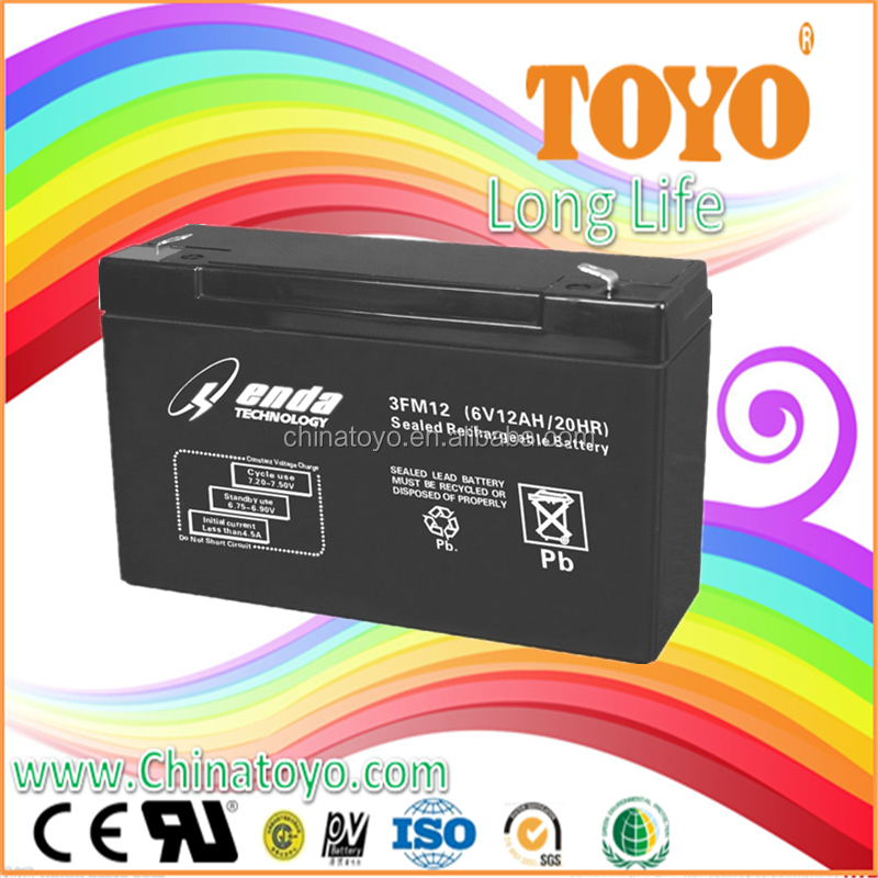 Solar power storage UPS battery 6v 12ah sealed lead acid battery