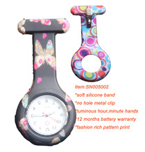 Luminous hands brooch pocket FOB silicone rubber nurse watch SN005002