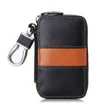 Car Key Chain Bag 100% Handmade Genuine Leather Car Key Holder Metal Hook and keyring Waller Zipper Case for Auto Remote Key