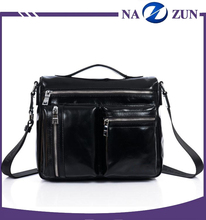 Men's classic simple leisure style black high quality real leather messenger bag with flap