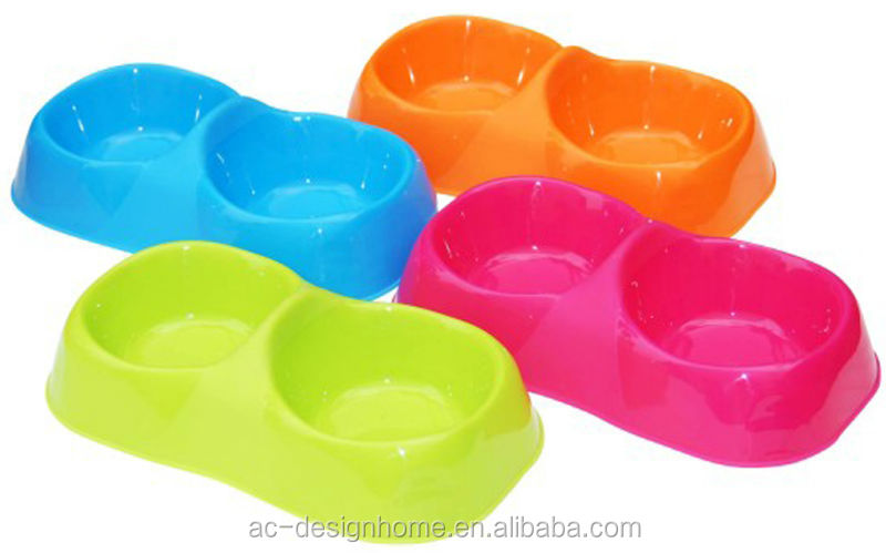 FUCHSIA, TURQUOISE, LIME GREEN, ORANGE 2 SECTIONS OBLONG PP PLASTIC PET FEEDER