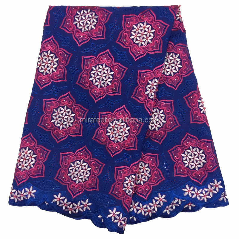 African Swiss High Quality Guipure Lace Fabric With Rhinestones royal blue