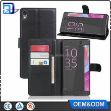 New arrival wallet leather with card slots stand flip case for Sony Xperia C6 Ultra cell phone cover china price