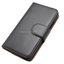Black mobile phone leather case flip wallet cover for Blackberry Z30