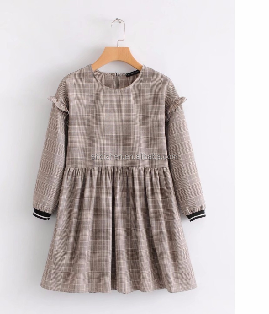 New fashion o neck long sleeve good quality plaid early spring fancy casual girls dresses